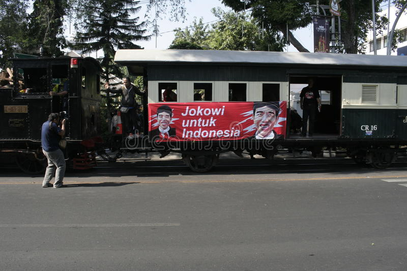 Ancient and rail transportation decker bus in the city of Solo, Central Java. Dutch heritage trains and double-decker bus was revived when the President of stock photography