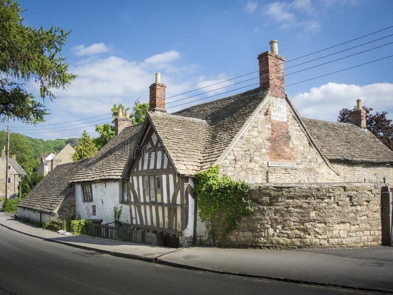 Ram Inn, Wotton-under-Edge, Gloucestershire, UK. Ancient Ram Inn, former 12th century public house, reported to be one of the most haunted buildings in the royalty free stock images