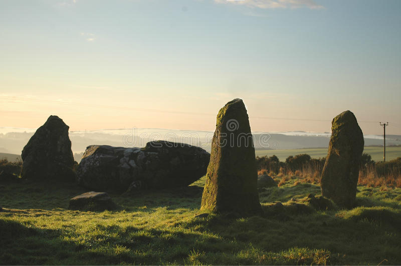 Ancient Recumbent Stone Circle. Standing Stones at Aikey Brae, Aberdeenshire with the recumbent stone clearly seen stock photography