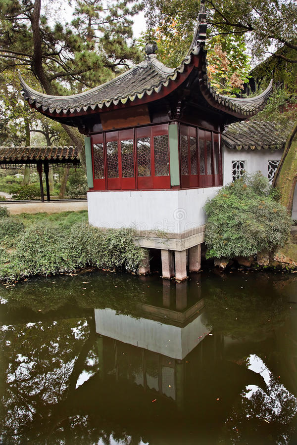 Ancient Red Pagoda Garden Suzhou China stock images