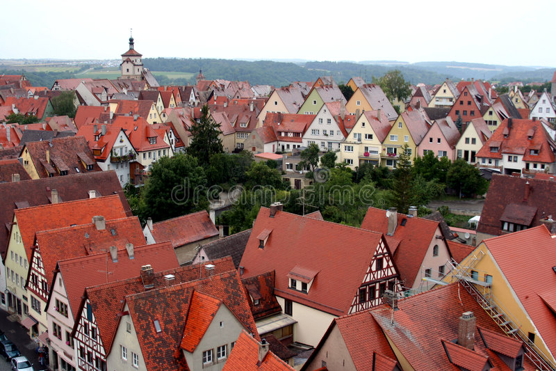 Download Ancient red roof houses stock image. Image of ansbach - 2739381