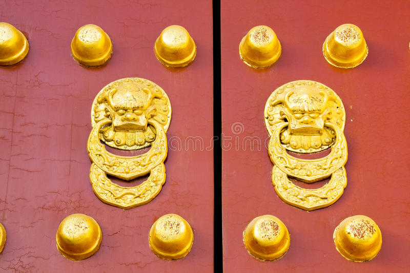 Ancient red Temple door