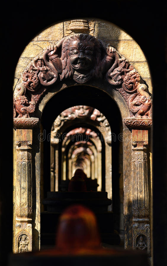 Ancient repetitive stone Hindu temples. Pashupatinath, Nepal. Ancient repetitive stone Hindu temples in Pashupatinath, Nepal royalty free stock photography