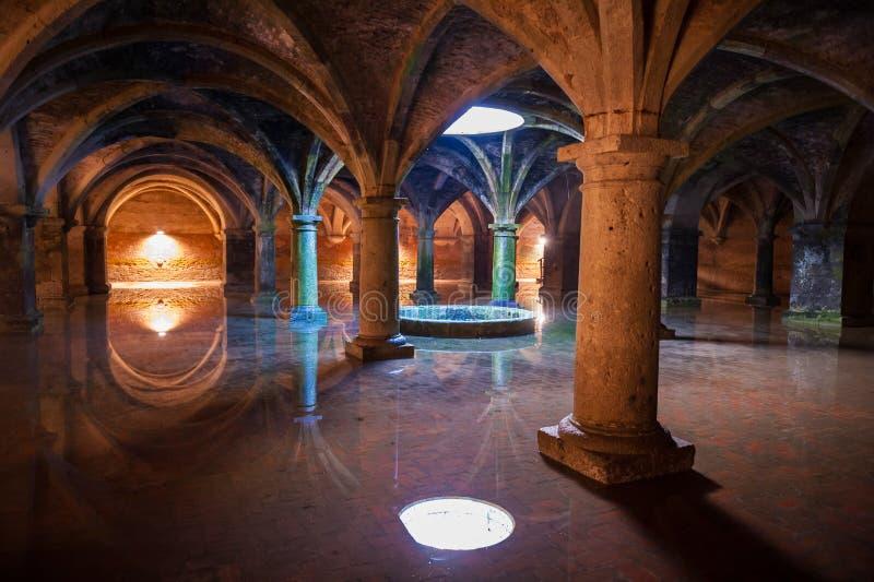 Ancient reservoir. Wonderful subterranean reservoir water flooding royalty free stock image