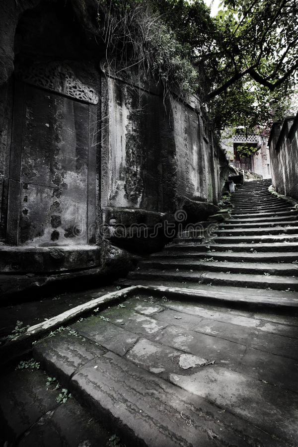 Ancient road and stone tablet royalty free stock photo
