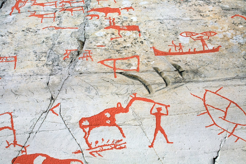 Ancient rock carvings. (petroglyphs) in Alta, Norway stock images