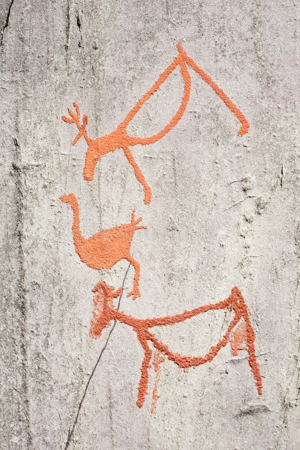 Ancient rock carvings. (petroglyphs) in Alta, Norway royalty free stock photography
