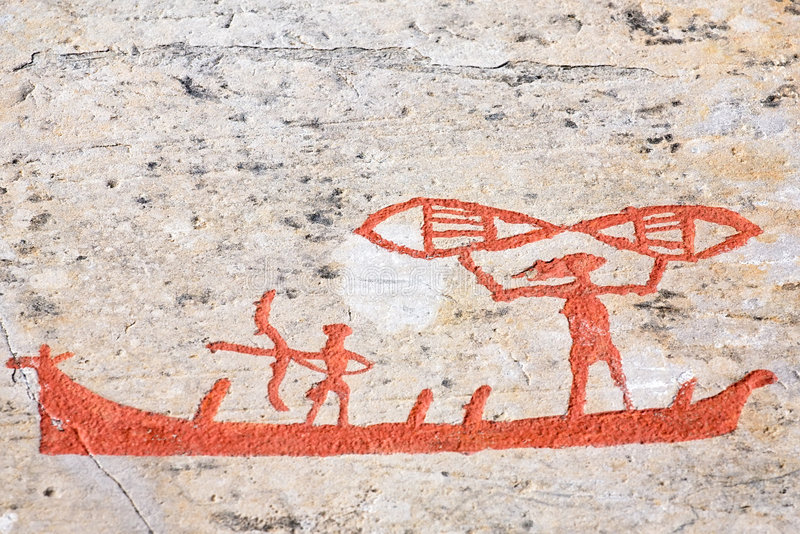 Ancient rock carvings. (petroglyphs) in Alta, Norway stock photo