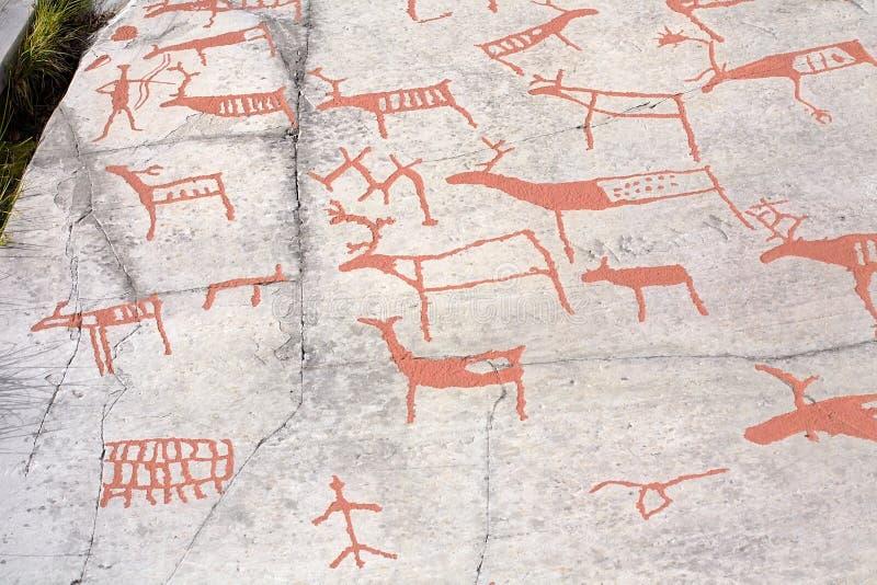 Ancient rock carvings. (petroglyphs) in Alta, Norway stock photos