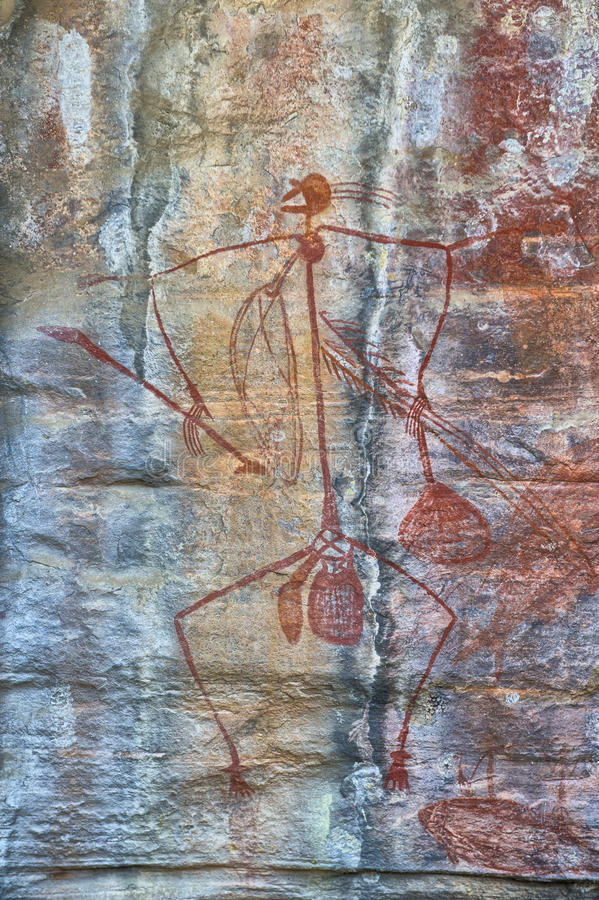 Ancient rock drawing stock photography