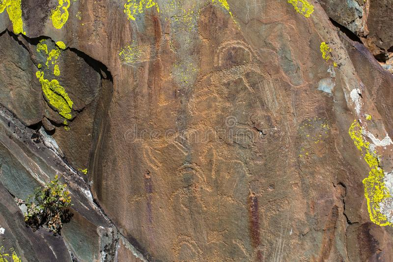 Ancient rock paintings Petroglyphs in the Altai Mountains. stock image