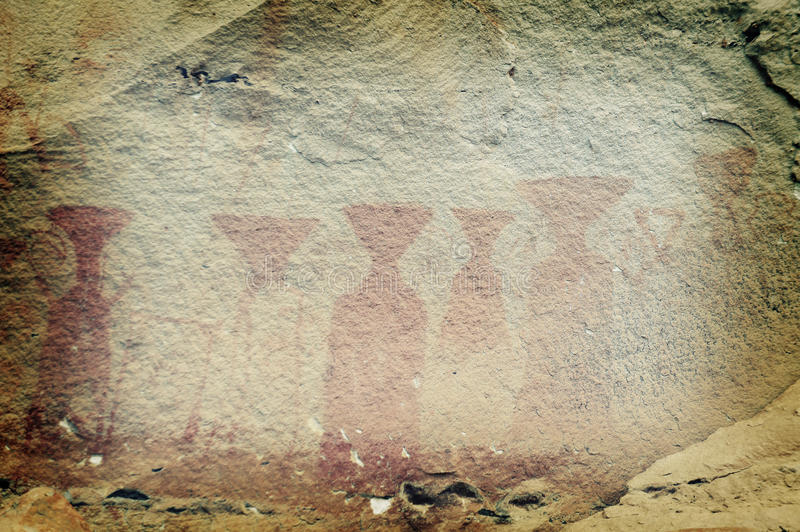 Ancient rock paintings in Pha Taem National Park 2 stock image