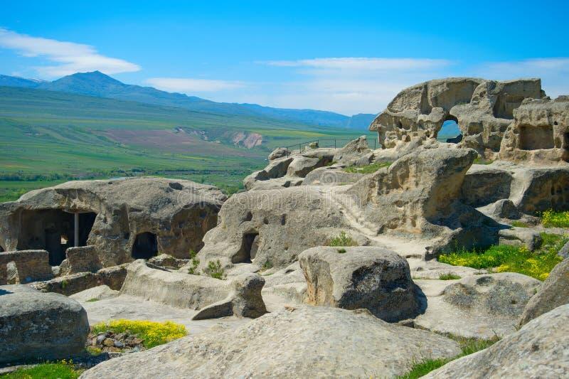 Ancient rock town, Georgia. Famous Uplistsikhe caves is an ancient rock-hewn town. Georgia, Gori, Shida Kartli stock photography