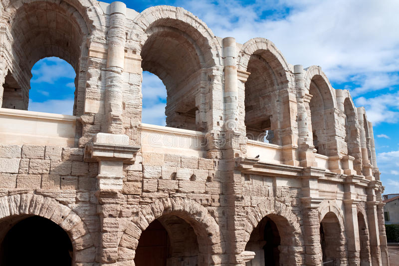 Ancient Roman amphitheater in Arles. France stock photography
