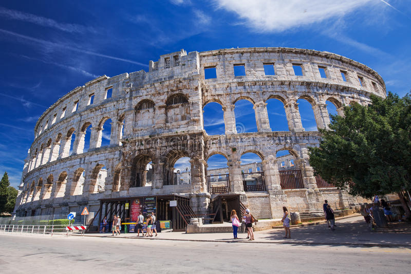 Ancient Roman Amphitheater and Church in Pula, Istria, Croatia stock photos