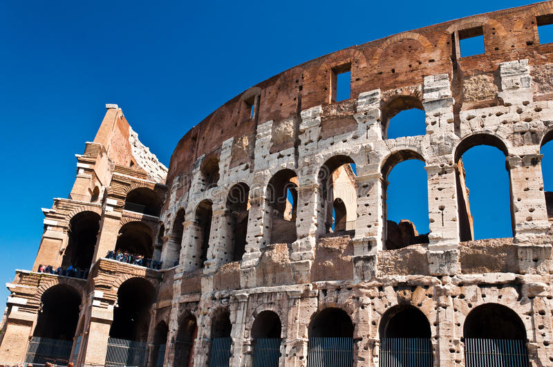 Ancient roman amphitheater Colloseum, Rome royalty free stock photo