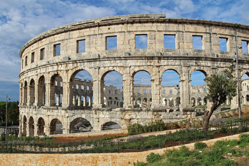 Ancient roman amphitheater in sunny day in Pula, Istria, Croatia, Europe. Roman Colosseum. An arena similar to Colosseum of Rome. stock image