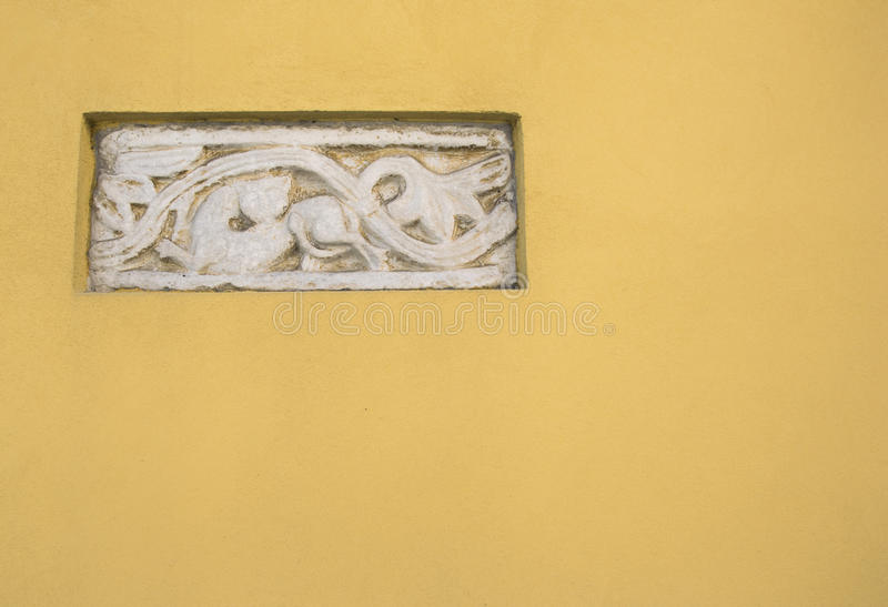 Ancient Roman Bas-relief Art In A Yellow Wall Stock Photo - Image of ...
