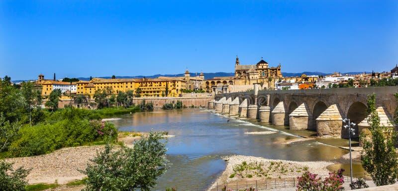 Ancient Roman Bridge River Guadalquivir Cordoba Spain. Ancient Roman Bridge Entrance Calahorra Tower Puerta del Puente Mezquita River Guadalquivir Cordoba Spain stock image