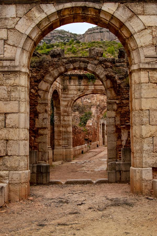 Ancient Roman buildings in front of the ruins. royalty free stock photos