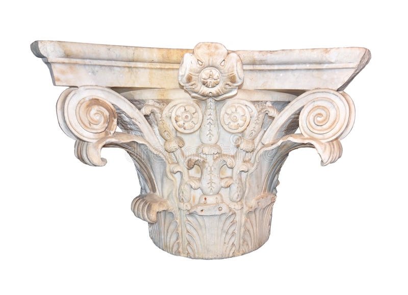 Ancient Roman capital. Ancient marble Corinthian capital from the Neronian era of the Roman empire stock photography