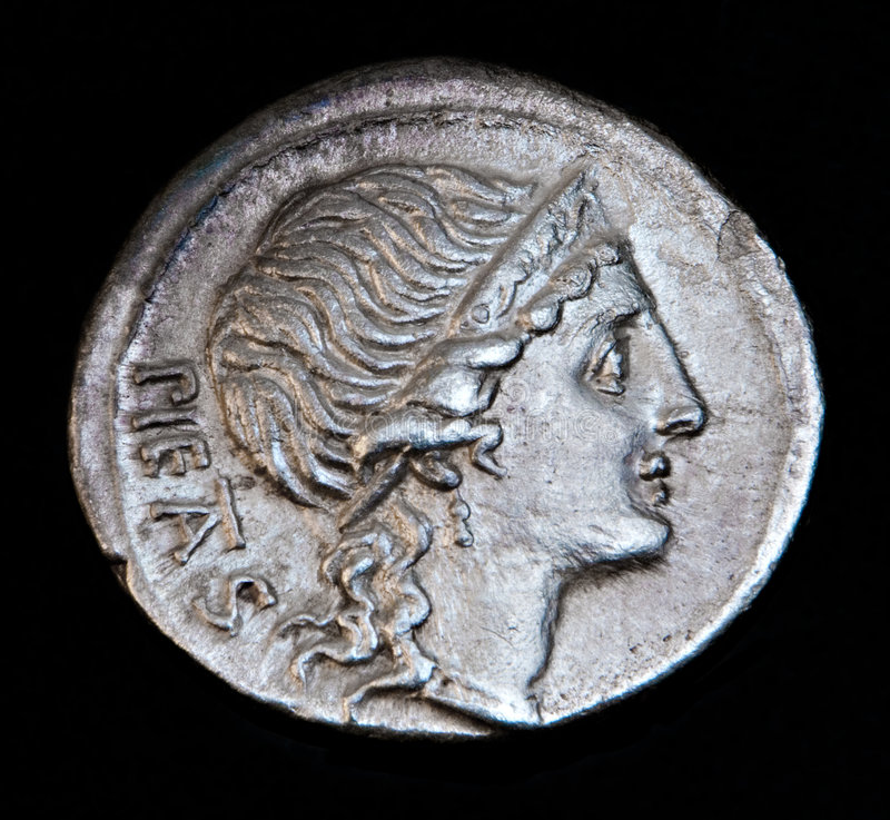 Ancient Roman Coin Pietas royalty free stock photos