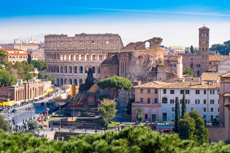 The ancient Roman Colosseum in Rome, Italy stock photo