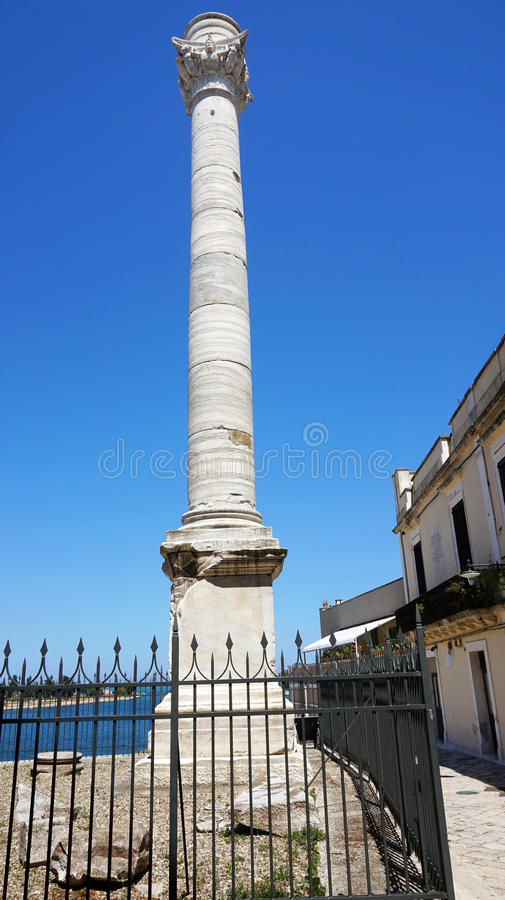 Ancient roman column, which is a landmark of Brindisi, Puglia, Italy.  stock images