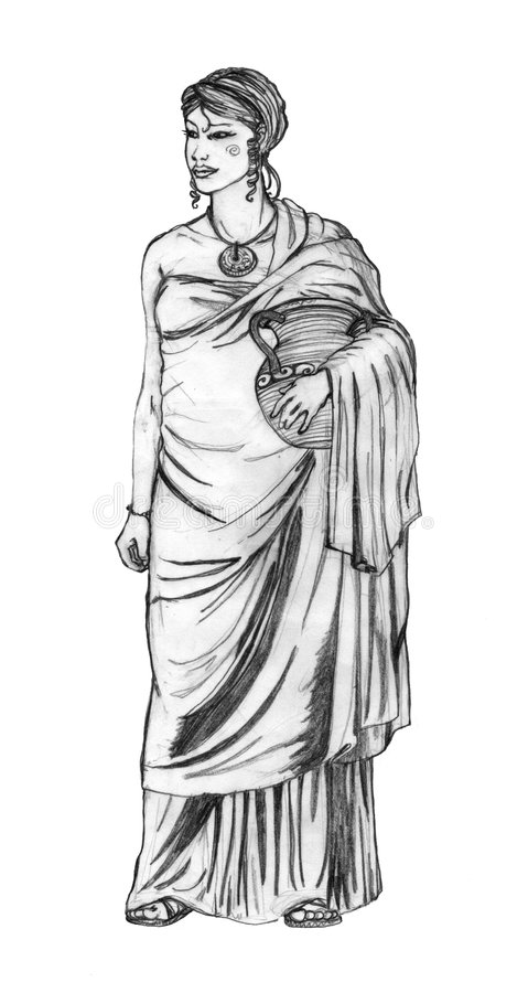 Ancient roman costume. Woman with an ancient roman costume. Sketch royalty free illustration