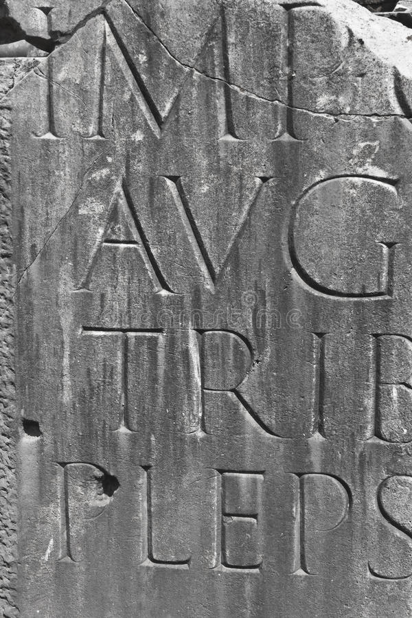 Ancient Roman Engraving. Close Shot of Ancient Roman Engraving. Black and White Version stock image