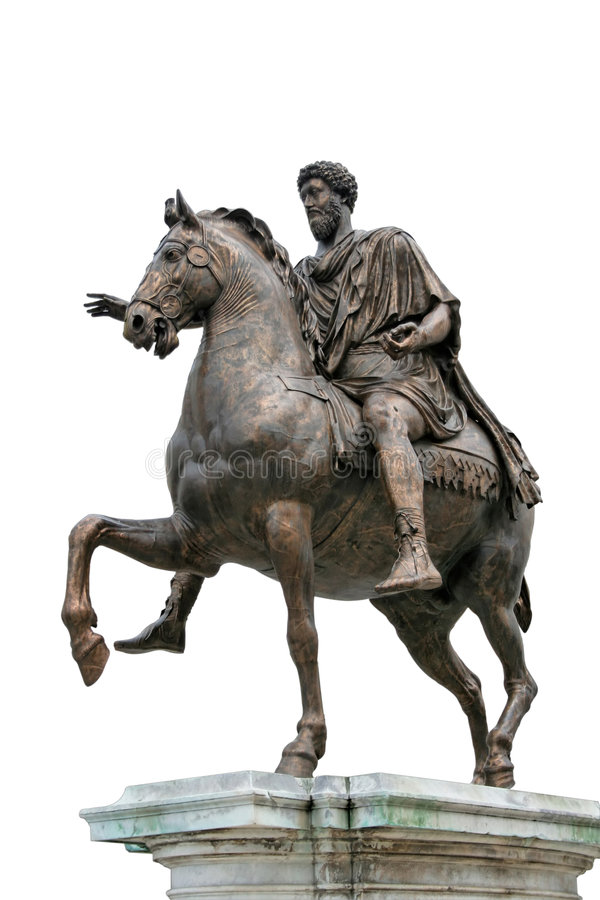 Ancient Roman Equestrian Statue Isolated royalty free stock photo