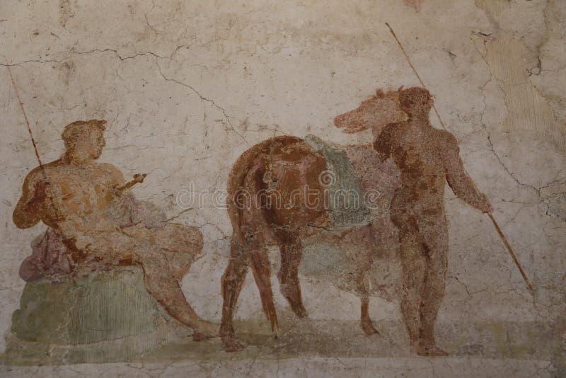 Ancient roman fresco painting royalty free stock image