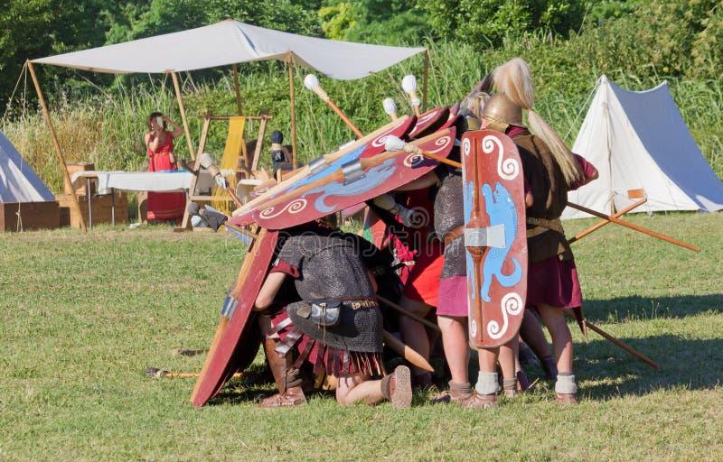 Ancient Roman Legionary Testudo Formation royalty free stock photos