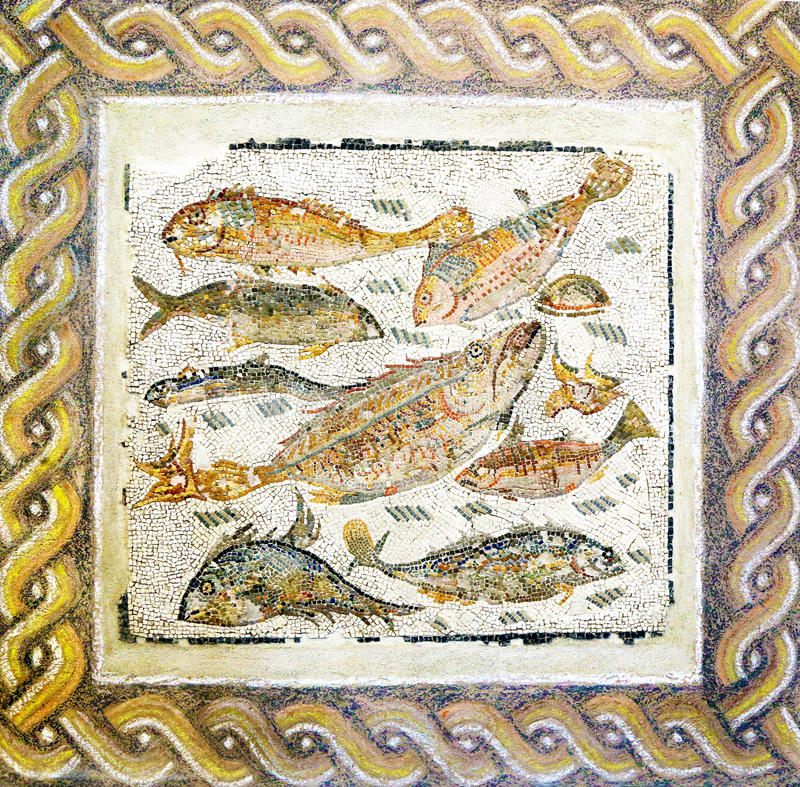 Ancient roman mosaic with different fish royalty free stock image