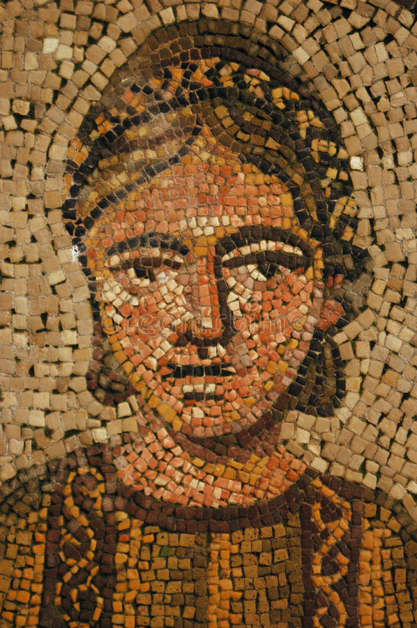 Ancient roman mosaic of young woman stock images