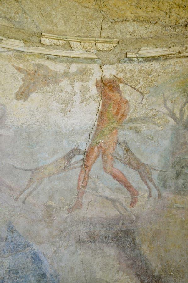 Fresco in Pompeii, Italy stock photos