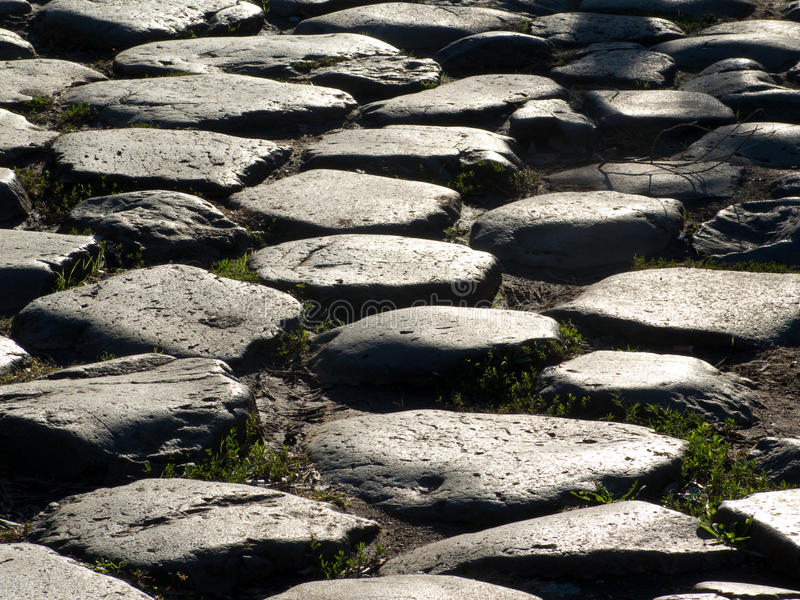 Ancient Roman Road. A detail of an ancient Roman road in Rome, Italy stock photography
