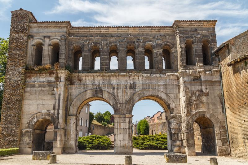 Ancient Roman ruins east gate in Autun historic town royalty free stock image