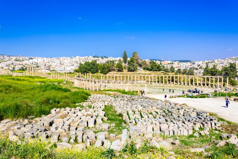 Ancient and roman ruins of Jerash Gerasa, Jordan royalty free stock image
