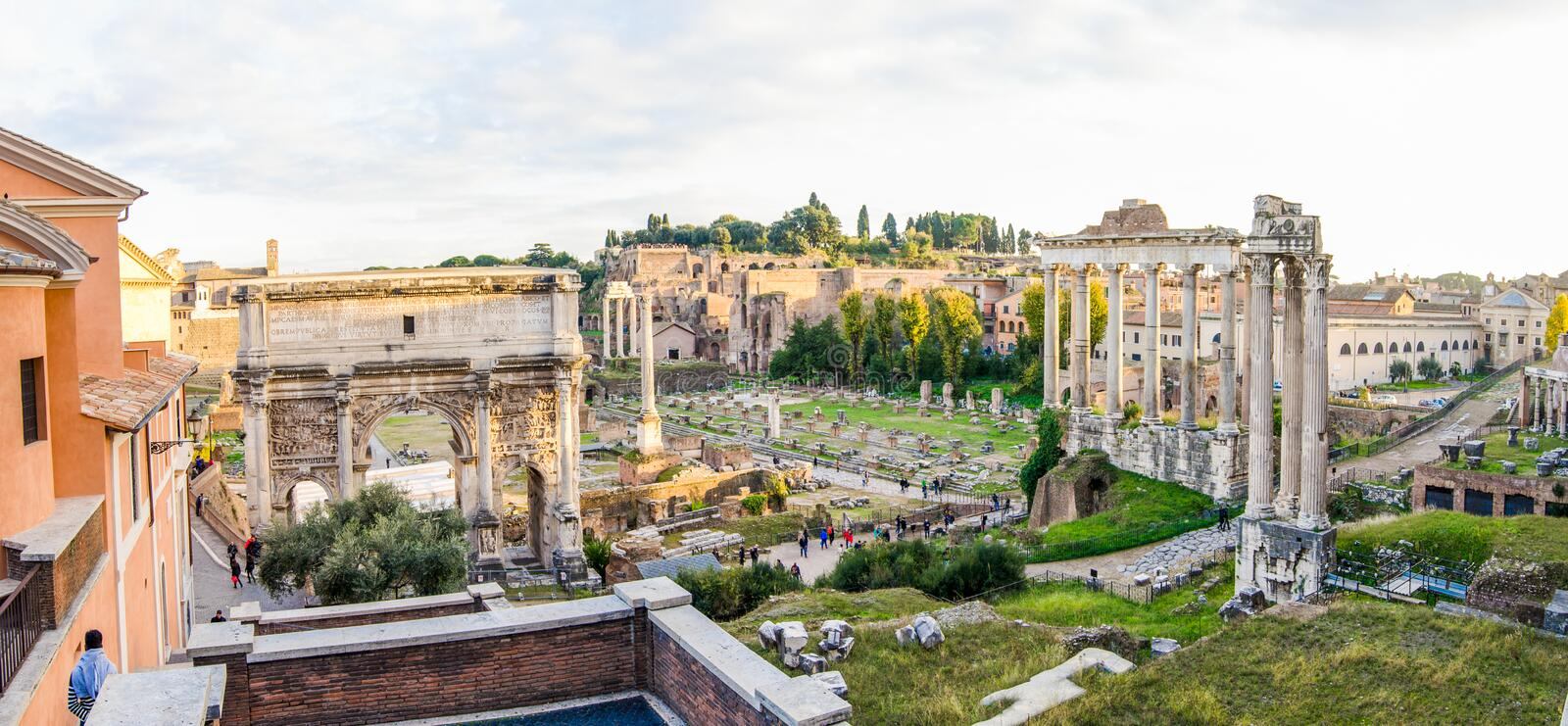 Ancient roman ruins of the Roman Forum royalty free stock photography