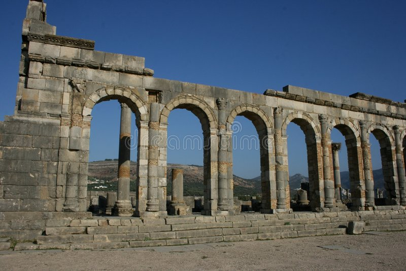 The ancient Roman ruins of Volubilis in Morocco stock image