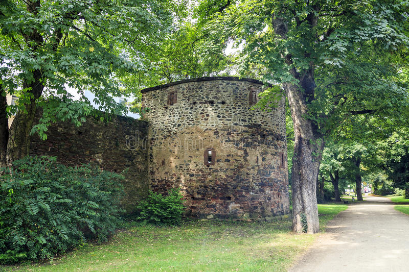 Ancient Roman ruins of the walls, Trier stock photo