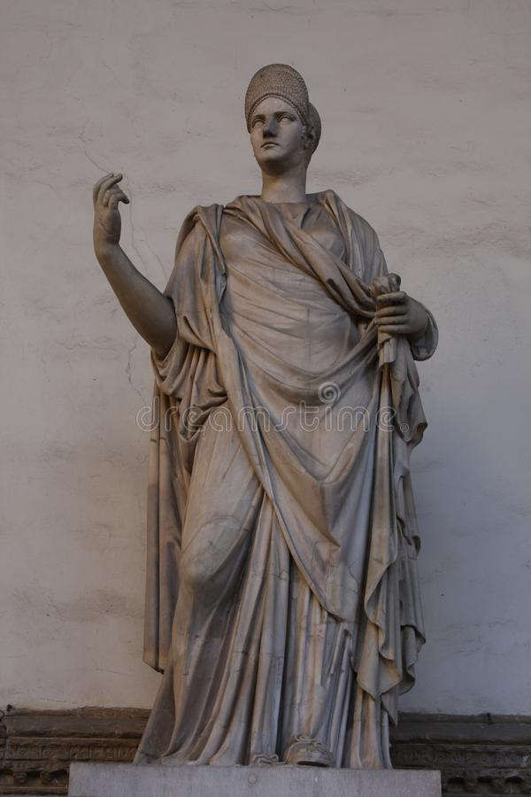 Ancient Roman sculpture of a Vestal Virgin at the Loggia dei Lanzi, Florence, Italy stock photo