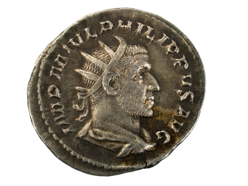 Ancient Roman Silver Coin stock photos