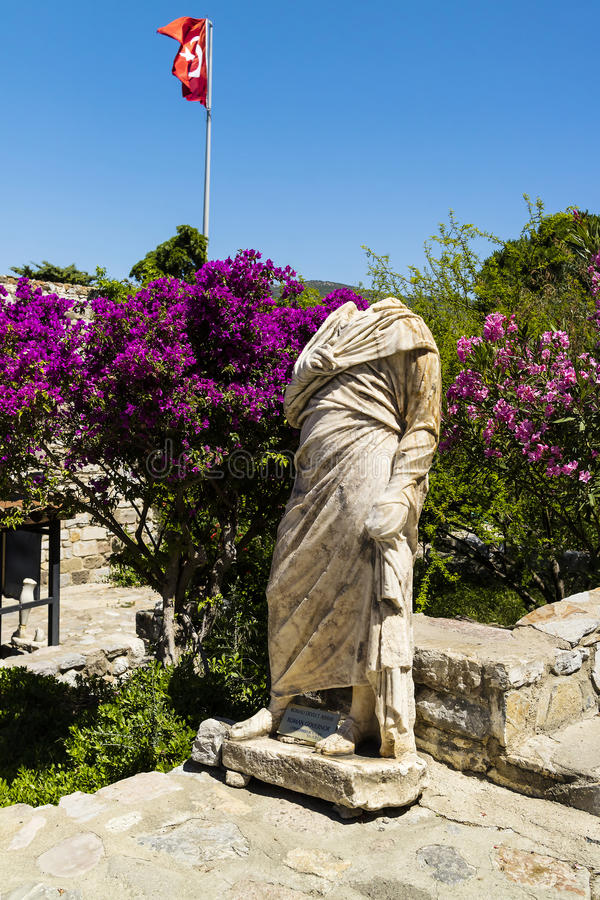 Ancient Roman statue at the Medieval castle in Bodrum, Turkey. royalty free stock images
