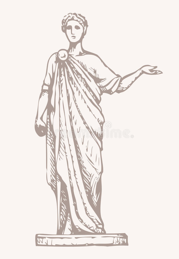 Ancient Roman statue. Vector drawing vector illustration