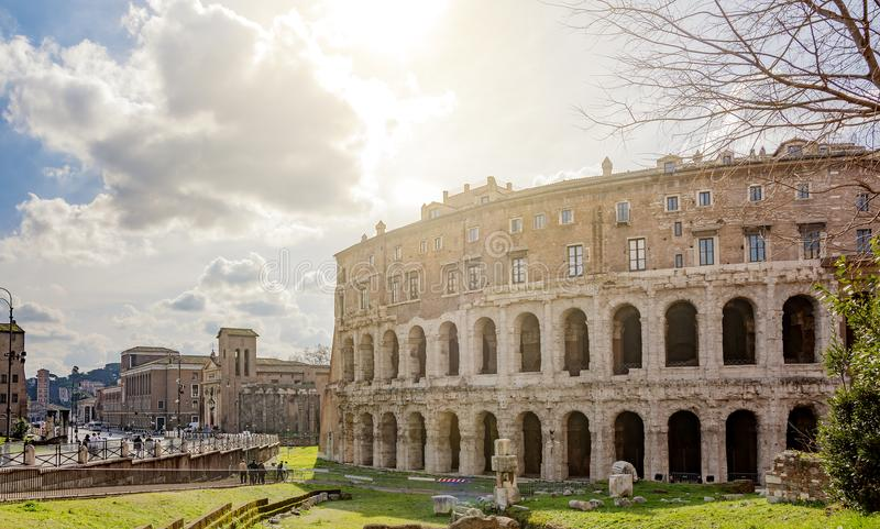 The ancient roman Theatre of Marcellus in Rome stock photography