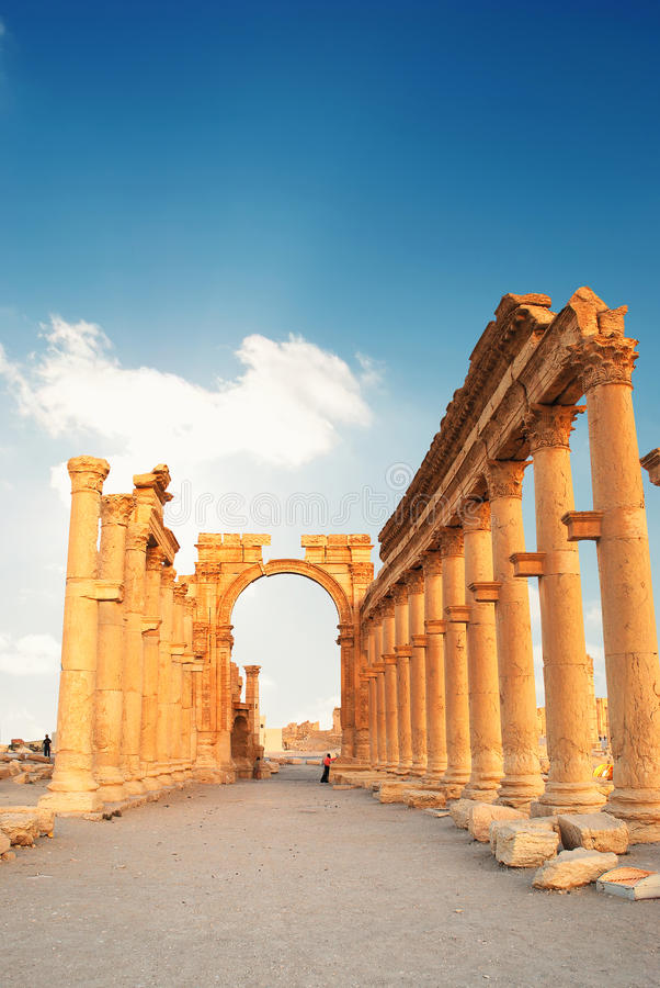 Ancient Roman time town in Palmyra, Syria. royalty free stock photos