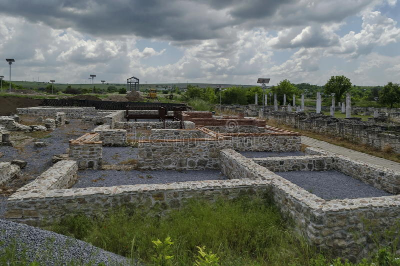 Ancient Roman town peristyle complex Abritus stock photos