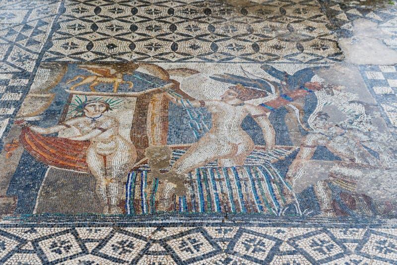 Ancient roman Volubils ruins and mosaics stock photo
